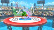 Aldeano, Samus Zero, Kirby y Olimar en las Islas Wuhu SSB4 (Wii U)