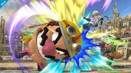 Wario dando un cabezazo a Sheik y Fox en el Coliseo SSB4 (Wii U)