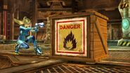 Samus zero junto a una caja explosiva en pirosfera SSB4 (Wii U)