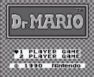 Pantalla de titulo de Dr. Mario (Game Boy)