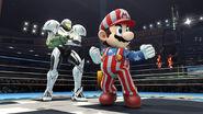 Samus (Coloracion de Traje de Luz) junto a Mario (NES Open Tournament Golf) SSB4 (Wii U)