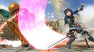 Lucina atacando a Samus en el Coliseo SSB4 (Wii U)