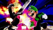 Luigi usando Supersalto Puñetazo SSBU