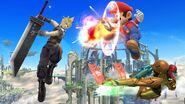 Cloud, Mario y Samus en el Campo de batalla SSB4 (Wii U)