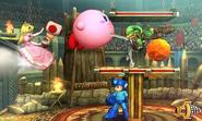 Peach, Kirby, Link y Mega Man en el Coliseo de Regna Ferox SSB4 (3DS)
