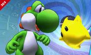 Yoshi junto a un Destello SSB4 (3DS)