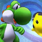 Yoshi junto a un Destello SSB4 (3DS).png