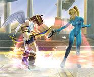 Ataque Smash hacia abajo Samus Zero SSBB