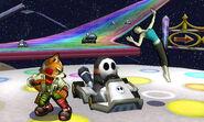 Fox, la Entrenadora de Wii Fit y los Shy Guys en la Senda Arco Iris SSB4 (3DS)