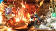 Roy usando Hoja llameante contra Link SSB4 (Wii U)