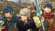 Marth, Daraen e Ike en el Coliseo SSB4 (Wii U)