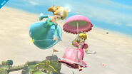 Peach usando su sombrilla cerca de Estela SSB4 (Wii U)