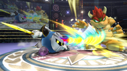 Meta Knight atacando a Bowser en el Ring de Boxeo SSB4 (Wii U)