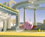 Kirby corriendo hacia una monda de plátano SSBB