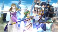 Zelda, Palutena y Lucina en el Reino Champiñón U SSB4 (Wii U)