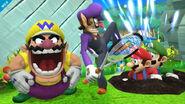 Wario y Waluigi atacando a Mario y Luigi en el Reino Champiñón U SSB4 (Wii U)