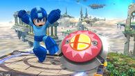 Mega Man junto a un Bumper en el Campo de Batalla SSB4 (Wii U)