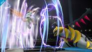 Giratina atacando a Fox con su ráfaga de viento SSB4 (Wii U)