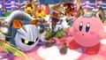 Meta Knight junto a Fox y Kirby en Sobrevolando el pueblo SSB4 (Wii U)
