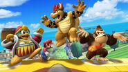 Rey Dedede, Mario, Bowser y Donkey Kong en el escenario Isla de Pilotwings SSB4 (Wii U)