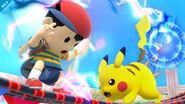 Ness atacando a Pikachu SSB4 (Wii U)