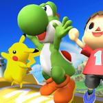 Yoshi junto a otros personajes haciendo sus burlas SSB4 (Wii U).png
