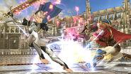 Ike atacando a Corrin en el Coliseo SSB4 (Wii U)