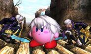 Daraen hombre y mujer junto a Kirby en el Valle Gerudo SSB4 (3DS)