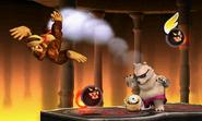 Donkey Kong junto a algunos enemigos en Smashventura