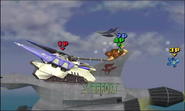 Fox usando su Smash Final en Corneria SSB4 (3DS)