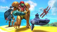 Samus y Marth junto a un Steel Diver SSB4 (Wii U)