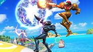 Samus oscura atacando junto a Samus SSB4 (Wii U)