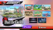 Pantalla de selección de escenarios SSB4 (Wii U)