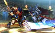 Ike y Lucina atacandose en el Coliseo de Regna Ferox (SSB4)