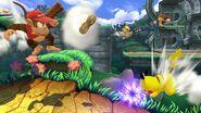Diddy Kong, Pikachu, Rey Dedede y Donkey Kong en la Jungla escandalosa SSB4 (Wii U)
