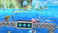 Aldeano, Samus Zero, Kirby y Olimar en Islas Wuhu SSB4 (Wii U)