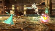 Estela lanzando al Destello contra Pit SSB4 (Wii U)