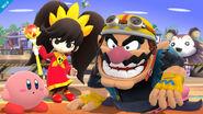 Wario, Kirby y Ashley en Sobrevolando el pueblo SSB4 (Wii U)