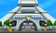 Pikachu y Olimar en la base del escenario Torre Prisma - (SSB. for 3DS)