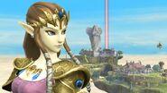 Zelda mirando hacia atrás en Altárea SSB4 (Wii U)