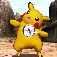 Pikachu con el Broche Franklin puesto en el Valle Gerudo SSB4 (3DS).jpg
