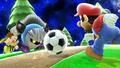 Mario, Aldeano y Meta Knight en Galaxia Mario SSB4 (Wii U)