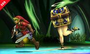 Cofremina persiguiendo a Link en la Smashventura SSB4 (3DS)