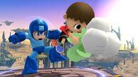 Mega Man y el Aldeano con unas verduras en el Campo de Batalla SSB4 (Wii U)