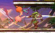Link junto a Kat y Ana en el Campo de Batalla SSB4 (3DS)