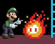 Luigi cerca de una llama de fuego SSBB