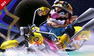 Wario montando su moto en la Senda Arco Iris SSB4 (3DS)