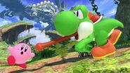 Yoshi a punto de engullir a Kirby en Llanuras de Gaur SSBU