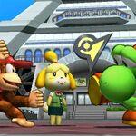 Yoshi y Diddy Kong junto con Canela en SSB4 (3DS).jpg