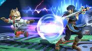Marth usando Bloqueo contra Fox en el Castillo del Dr. Wily - (SSB. for Wii U)